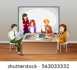 office workers meeting in the... | Shutterstock .eps vector #563033332