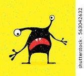 cute black monster with... | Shutterstock .eps vector #563042632