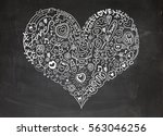 sketchy love and hearts doodles ... | Shutterstock .eps vector #563046256