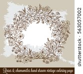 laurel wreath frame with roses  ... | Shutterstock .eps vector #563057002