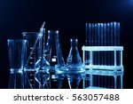 test tubes and flasks on dark... | Shutterstock . vector #563057488