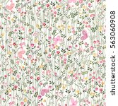 seamless floral border with... | Shutterstock .eps vector #563060908