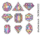 diamonds patch badges set.... | Shutterstock .eps vector #563061322