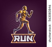 running man. sport emblem on... | Shutterstock .eps vector #563083846