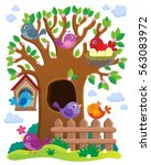 tree with stylized birds theme... | Shutterstock .eps vector #563083972