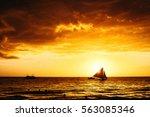 Dramatic Orange Sunset With...