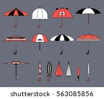 set of vector cute multicolor... | Shutterstock .eps vector #563085856