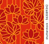 chinese seamless pattern. red... | Shutterstock .eps vector #563089342