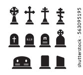 grave icons set. black on a... | Shutterstock .eps vector #563095195