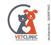 Stock vector veterinary clinic logo with the image of cat and dog vector illustration 563097442