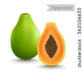 papaya and slice vector isolated | Shutterstock .eps vector #563106655