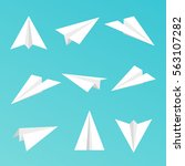 set a simple paper planes icon. ... | Shutterstock .eps vector #563107282