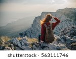 woman traveler climbed into the ...