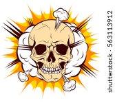 skull on background cloud... | Shutterstock .eps vector #563113912
