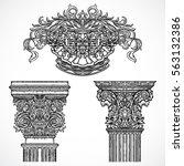 vintage architectural details... | Shutterstock .eps vector #563132386