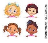 vector set of multi ethnic... | Shutterstock .eps vector #563136028