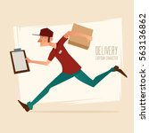 delivery man running fast ... | Shutterstock .eps vector #563136862