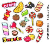 sweets food candies stickers ... | Shutterstock .eps vector #563138452
