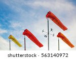 weather forecast. wind sock in... | Shutterstock . vector #563140972