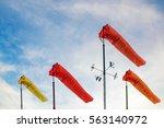 weather forecast. wind sock in... | Shutterstock . vector #563140972