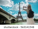 woman tourist selfie near the... | Shutterstock . vector #563141548