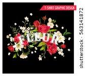 vintage floral graphic design.... | Shutterstock .eps vector #563141872