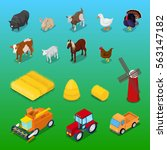 isometric farm animals and... | Shutterstock .eps vector #563147182
