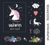 decor elements  unicorns ...   Shutterstock .eps vector #563154436