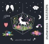 decor elements  unicorns ... | Shutterstock .eps vector #563155096