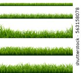 big set green grass borders ... | Shutterstock .eps vector #563158078