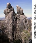 Small photo of Interesting rock formation - Rock tower in the Crows Rocks, Bohemia