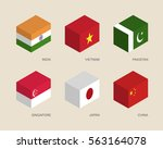 set of isometric 3d boxes with... | Shutterstock .eps vector #563164078