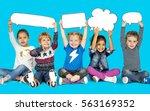children smiling happiness... | Shutterstock . vector #563169352