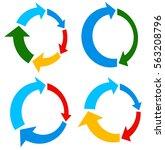set of 4 version circular arrow ... | Shutterstock . vector #563208796