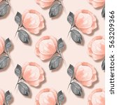 beautiful floral pattern.... | Shutterstock . vector #563209366