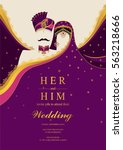indian wedding invitation card... | Shutterstock .eps vector #563218666