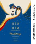 indian wedding invitation card... | Shutterstock .eps vector #563218672