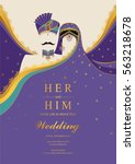 indian wedding invitation card... | Shutterstock .eps vector #563218678
