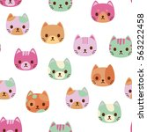 Stock vector vector seamless pattern with cat faces 563222458