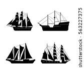 Vintage Set With Ships. Vector...