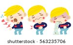 vector sick boy  cough ... | Shutterstock .eps vector #563235706
