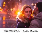 in love couple kissing in the... | Shutterstock . vector #563245936