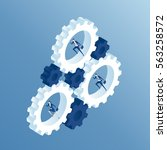 business people run inside the...   Shutterstock .eps vector #563258572