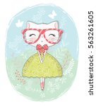 cat girl vector graphic | Shutterstock .eps vector #563261605