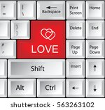 computer keyboard with love | Shutterstock . vector #563263102