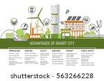 smart city flat. cityscape... | Shutterstock .eps vector #563266228