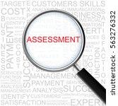 assessment. magnifying glass... | Shutterstock . vector #563276332