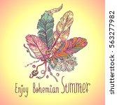 boho style design for card ... | Shutterstock .eps vector #563277982