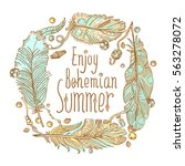 boho style design for card ... | Shutterstock .eps vector #563278072