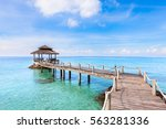 tropical beach landscape with a ... | Shutterstock . vector #563281336